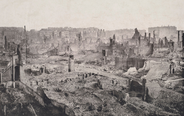 Downtown Boston after the Great Fire of 1872