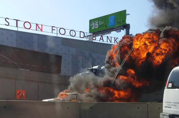 Car fire on the Southeast Expressway in Boston