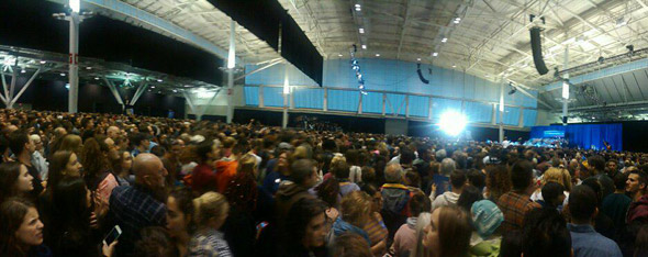 Bernie Sanders backers fill the South Boston convention center