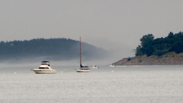 Fog over Boston Harbor islands