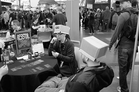 Guys with boxes on their heads at Pax East in Boston