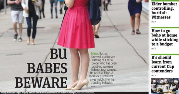 Boston Metro cover about BU babes