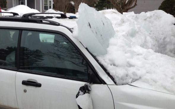 Smashed car in Burlington