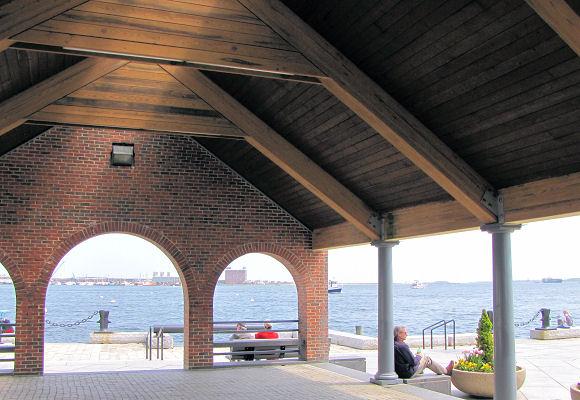 Long Wharf shelter in Boston