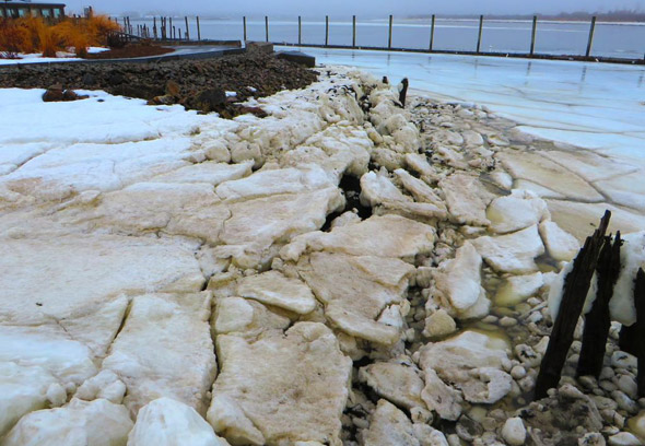 Ice chunks washed up at Port Norfolk in Dorchester