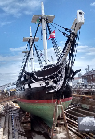 USS Constitution in drydock