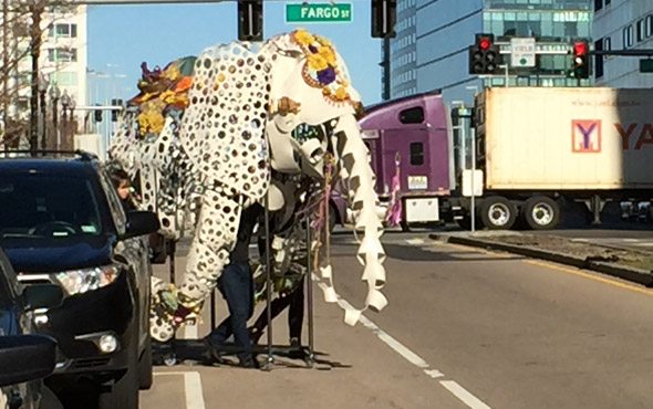 Cloth elephant on the move in South Boston