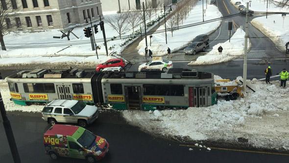Derailed Green Line trolley on Huntington Avenue