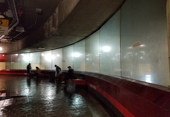 Foggy bus station in Harvard Square