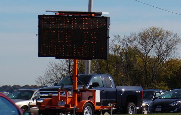 Frankentide sign on Morrissey Boulevard