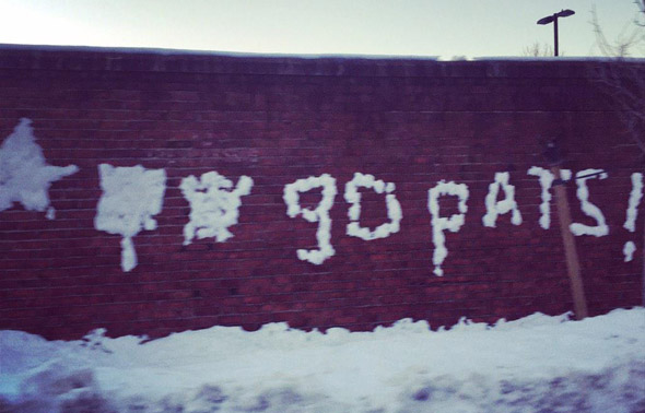 Go Pats in snow in Jamaica Plain