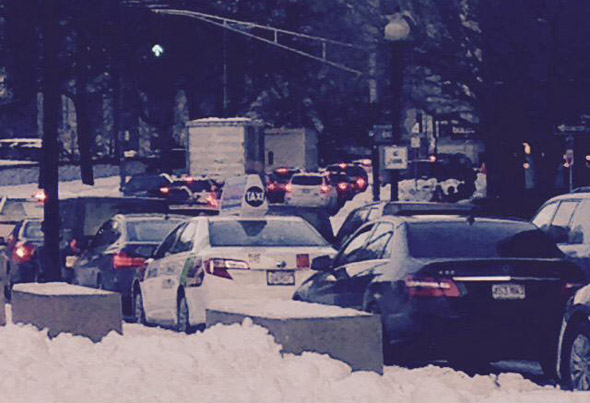 Gridlock in downtown Boston after blizzard