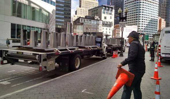 Hubway station being rebuilt on Atlantic Avenue outside Boston's South Station