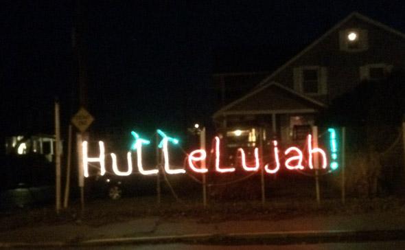 Lit sign on Nantasket Avenue in Hull