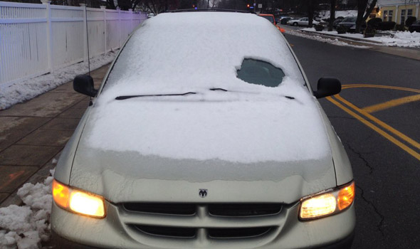 Car ticketed for not having much of a cleared window in Wellesley