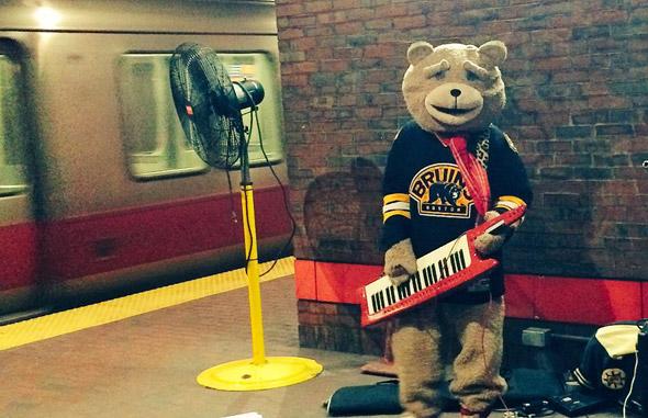 Keytar Bear in Davis Square Red Line station, Somerville