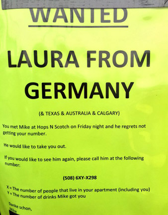 Message to Laura from Germany in Coolidge Corner