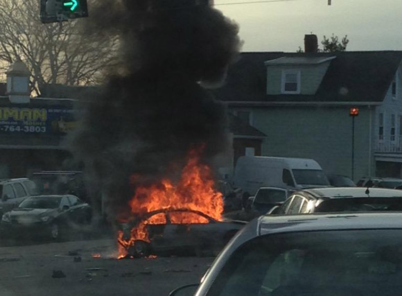 Car fire on Highland Avenue in Somerville