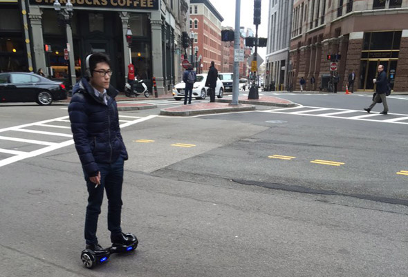 Nerd commuting in Boston's Financial District