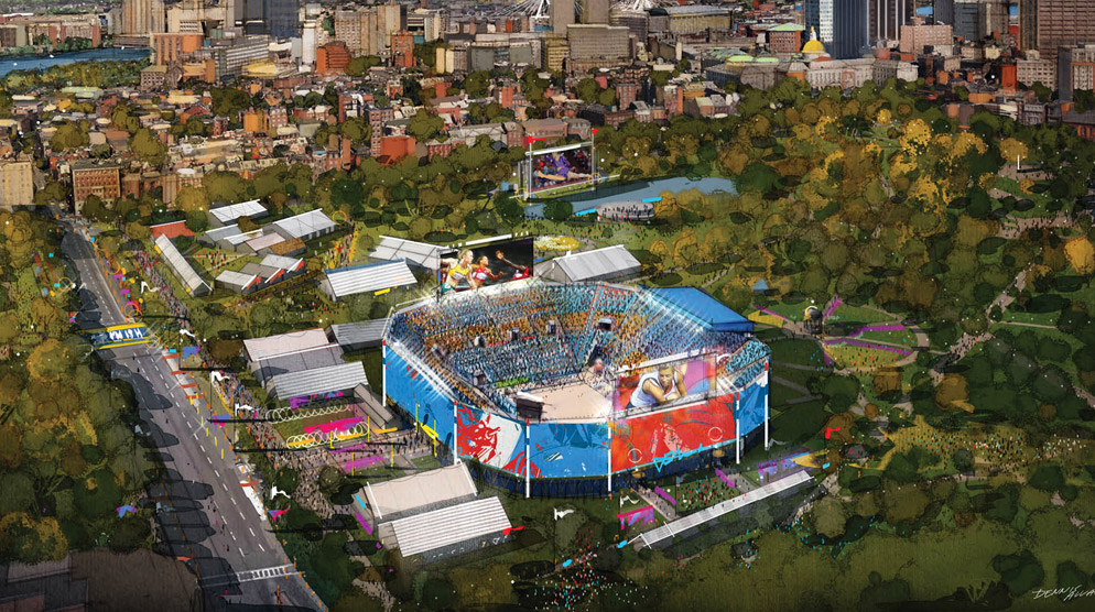 Proposed Olympic beach volleyball stadium on Boston Common.