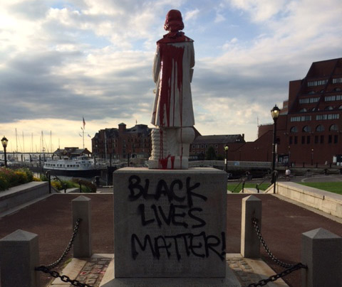 Defaced Christopher Columbus statue in the North End