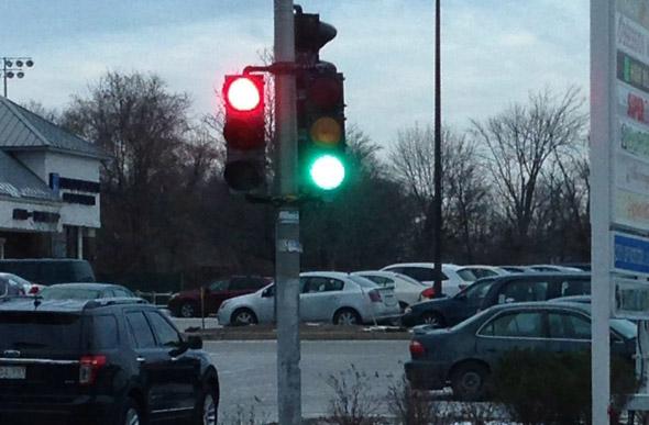 Crazy traffic lights on Spring Street in West Roxbury