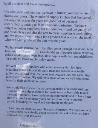 Note explaning why Rosies in Chestnut Hill is closed: Supplier shut