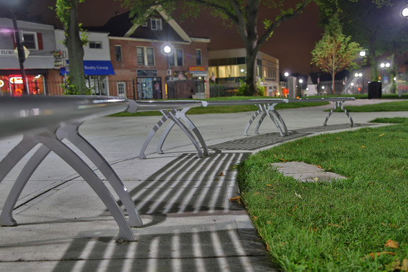 Benches in Adams Park in Roslindale Square