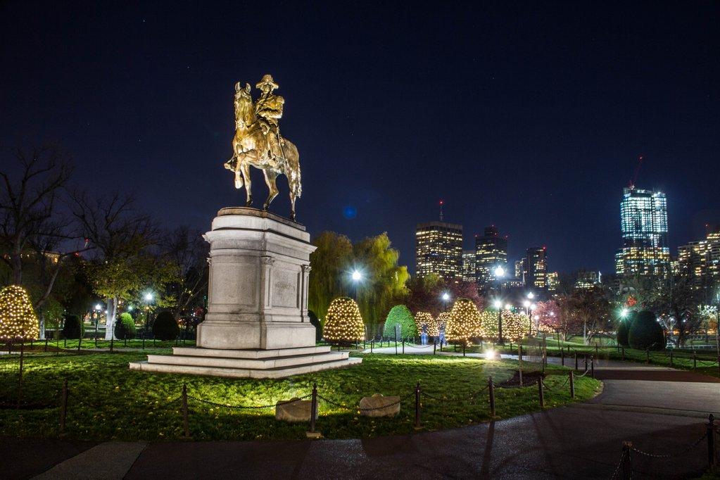 The George Washington statue in Boston's Public Garden at night