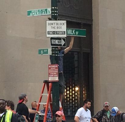 Milk Street in Boston becomes Sixth Avenue in New York