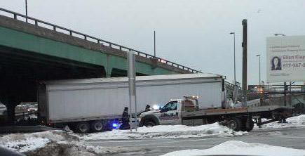 Stuck truck in East Boston