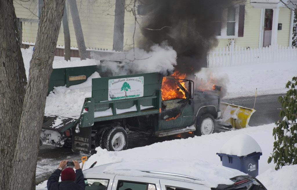 Landscaping truck on fire in Roslindale