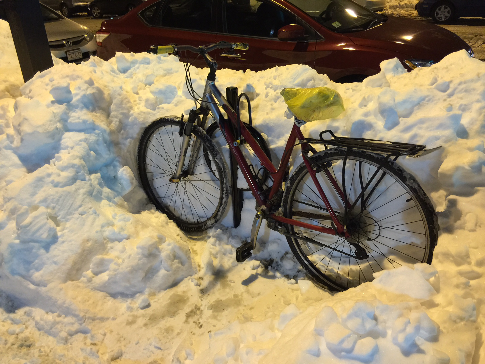 Snow bicycle in the South End