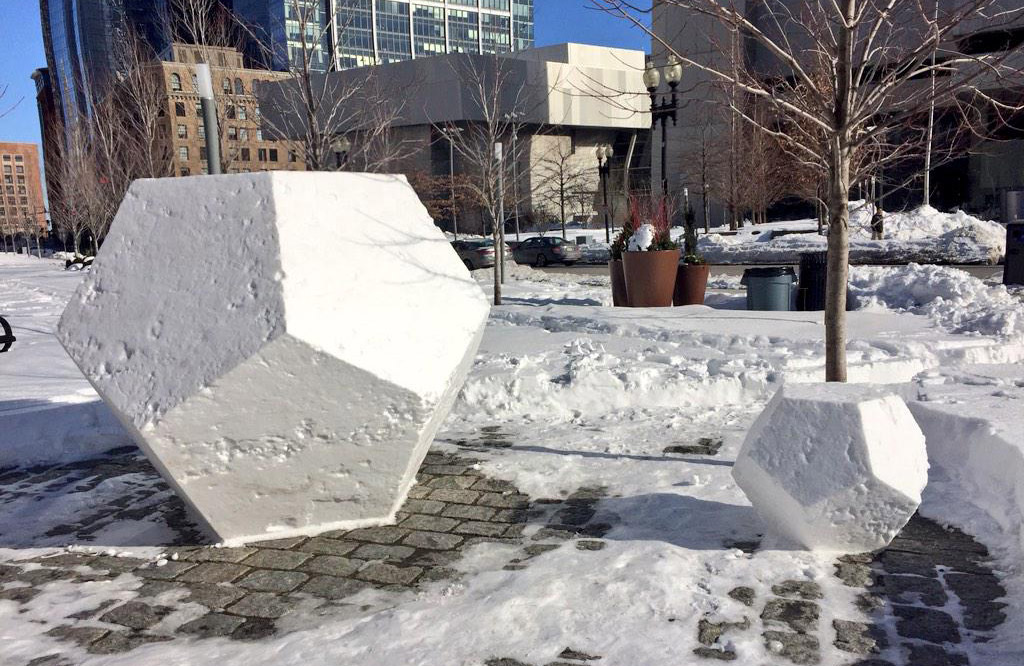 Snowdecahedrons in Dewey Square