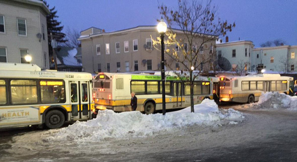 Buses in a row in Brighton