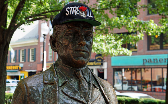 James Michael Curley wearing a snapback in downtown Boston