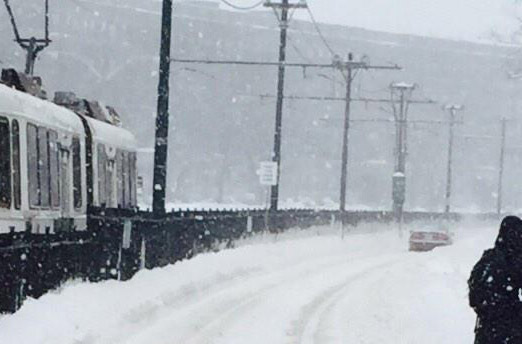 Stuck car on B Line trolley