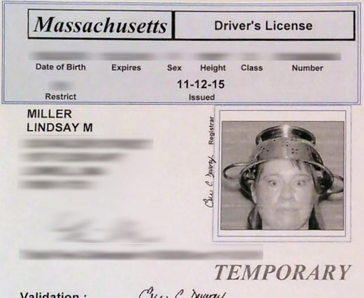 Temporary license for a Pastafarian