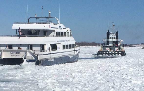 Ferry and icebreaker