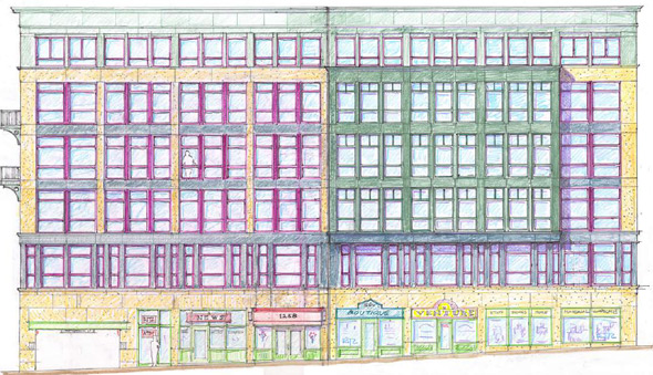 Architect's reendering of proposed condos on Massachusetts Avenue