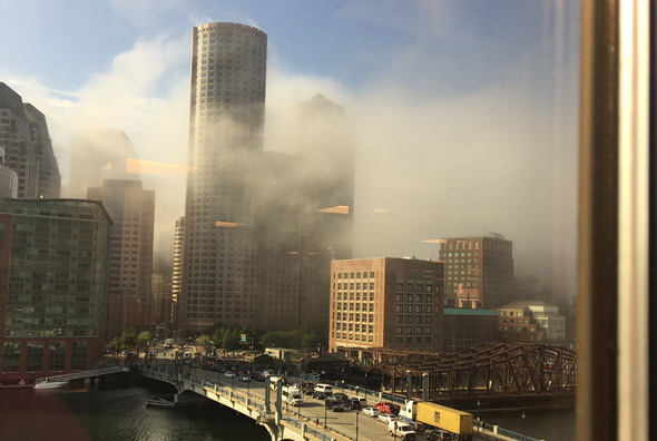 Fog over downtown Boston
