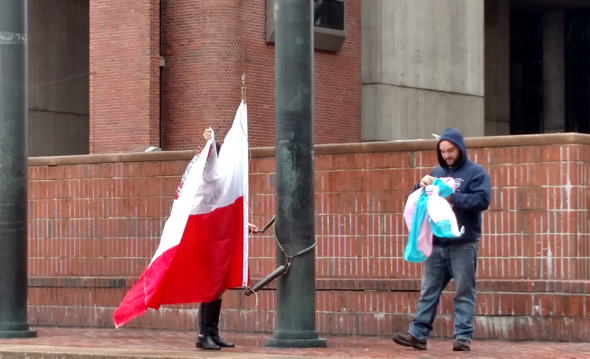 Taking down trans flag in Boston