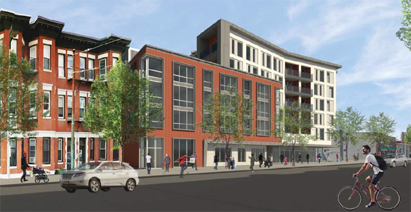 Architect's rendering of proposed 35 South Huntington Ave. building