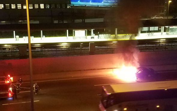 Car in flames on I-93 south in Dorchester