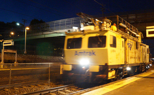 Amtrak catenary tester train