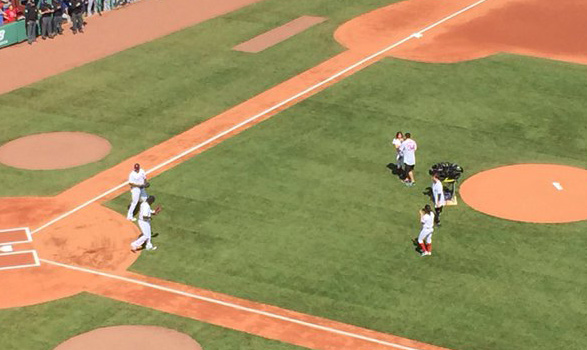 Jeff Bauman throwing first pitch to David Ortiz at Fenway Park