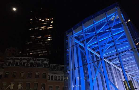 Government Center lit in blue