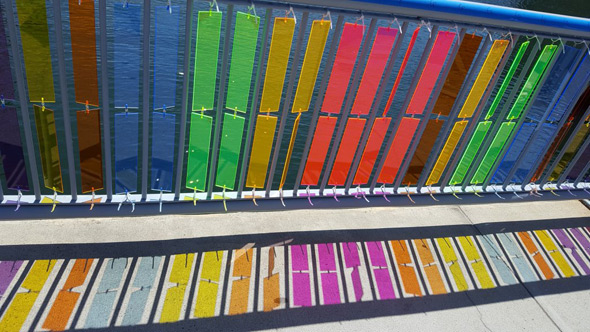 Colored panels on bridge across Fort Point Channel in Boston