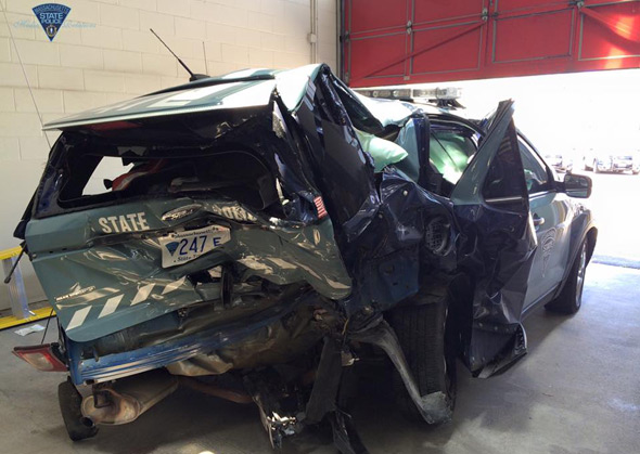 State Police cruiser in ruins