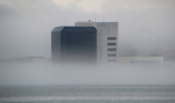 JFK Library in the fog on Dorchester Bay